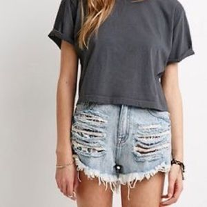 Forever 21 LA Cali Light Wash High Waisted Ripped